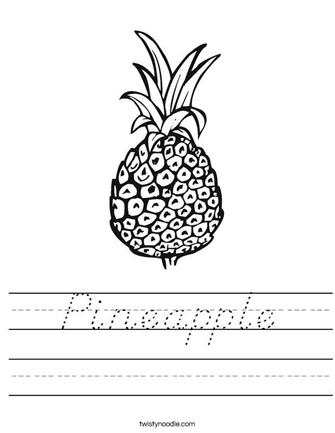 pineapple worksheet dnealian twisty noodle