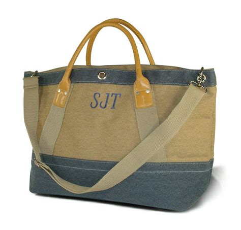 large canvas tote bags monogram personalized