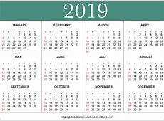Free 2019 One Page Printable Calendar Templates