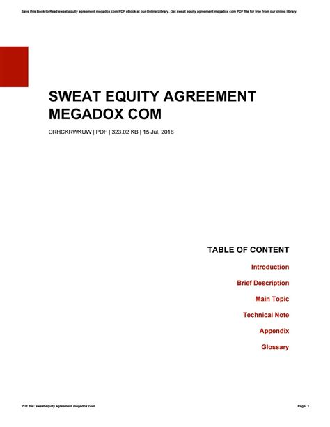 Sweat Equity Agreement Megadox Com By Theresaholford4092