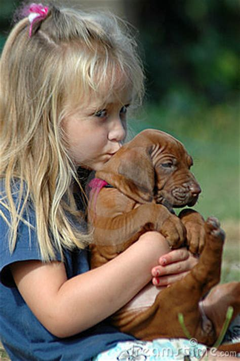 girl kissing puppy stock image image