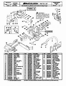 Mcculloch Mac Cat 440 Chainsaw Service Parts List
