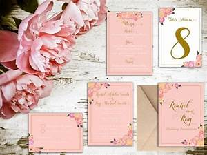 blush and gold floral wedding invitation matching save With wedding invitations and matching rsvp cards