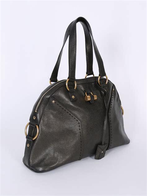 yves saint laurent sac muse leather bag metallic khaki