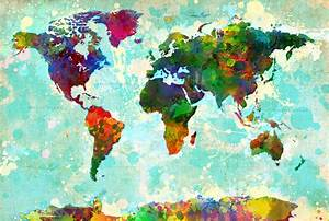 World Map Splatter Design Painting by Gary Grayson