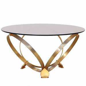 Round brass geometric rings coffee table with glass top for Round geometric coffee table