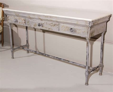 industrial metal console table industrial marble top metal console table at 1stdibs
