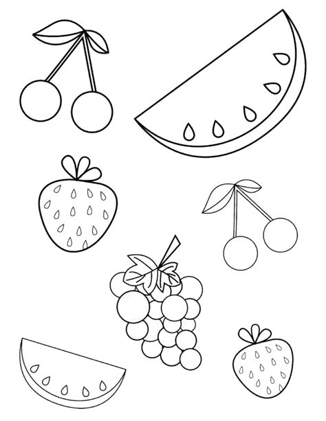 summer fruits coloring page   toddlers