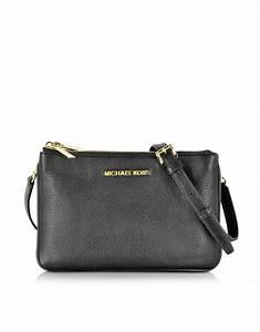 Michael kors Bedford Black Leather Gusset Crossbody Bag in ...