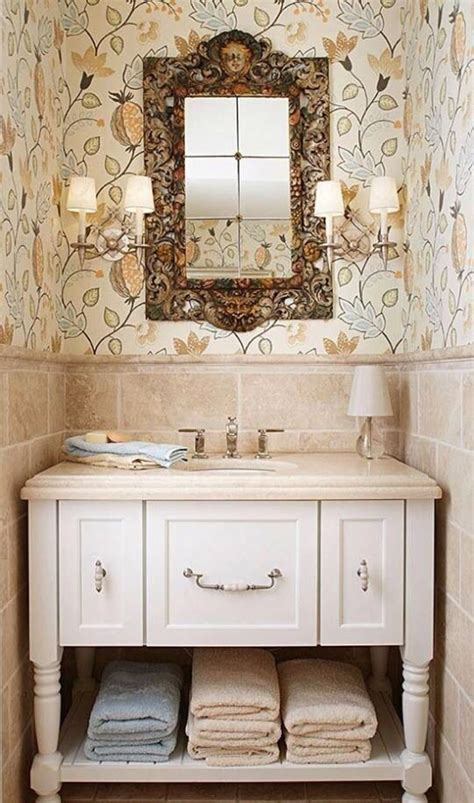Distressed Bathroom Vanity Mirror by Inspiring Classic Bathroom With Beige Wallpaper And