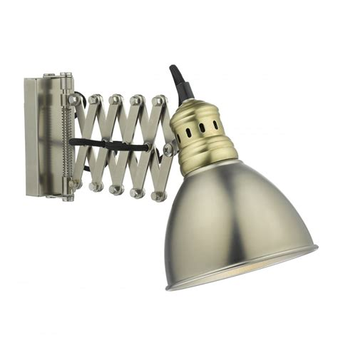 retro adjustable chrome and brass wall light