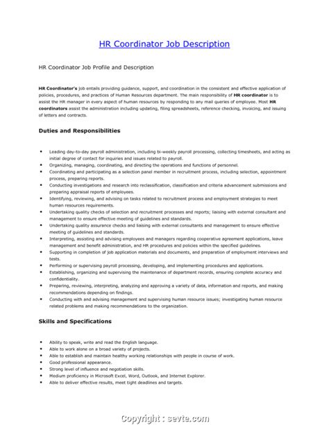 Hr Coordinator Resume by Create Hr Coordinator Resume Exles Hr Coordinator