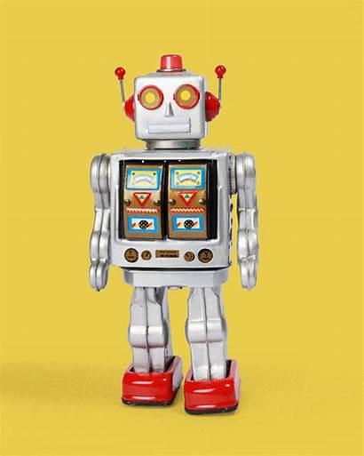 Robot Silver Toy Tin Flashing