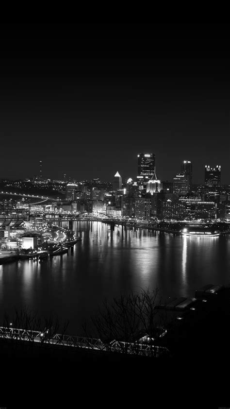 pittsburgh city dark skyline  night iphone   hd