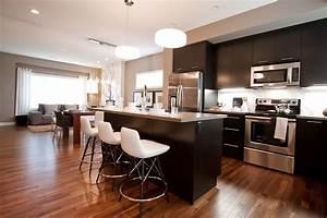 espresso hardwood floors Kitchen Traditional with
