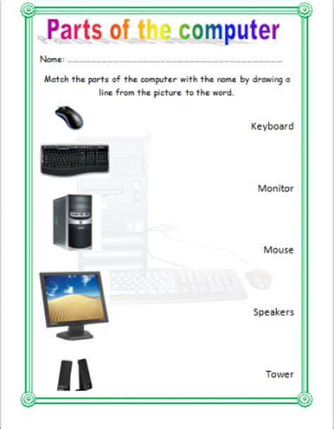 worksheet parts of the computer shazaadmohammed