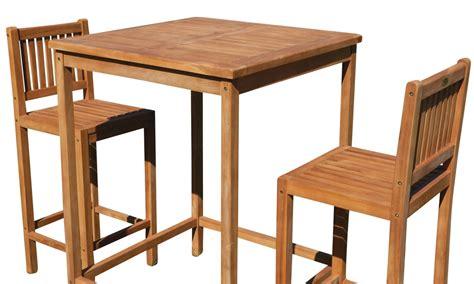 bartisch set holz bar set teak bartisch bistrotisch stehtisch 80x80cm mit 2x barhocker holz modell bima