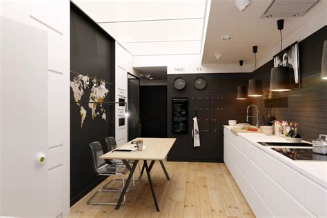cuisine fermee chic apartment emphasising bursts of lights and darks by