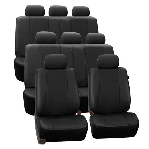 3 Seat Covers by Deluxe Leatherette 3 Row 7 Headrest Seat Covers Gray Fh
