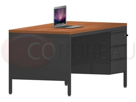 bureau 160 cm bureau demi ministre 160 cm métal avec caisson 3 tiroirs