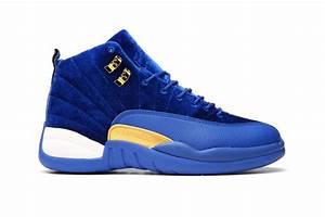 2017 New Air Jordans 12 Blue Velvet-Gold/White Cheap For ...