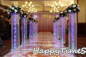 6pcs/lot Wedding Crystal Pillar With Acrylic Bead Wedding