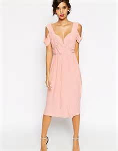 cold shoulder dresses for wedding asos asos wedding cold shoulder ruched midi dress at asos