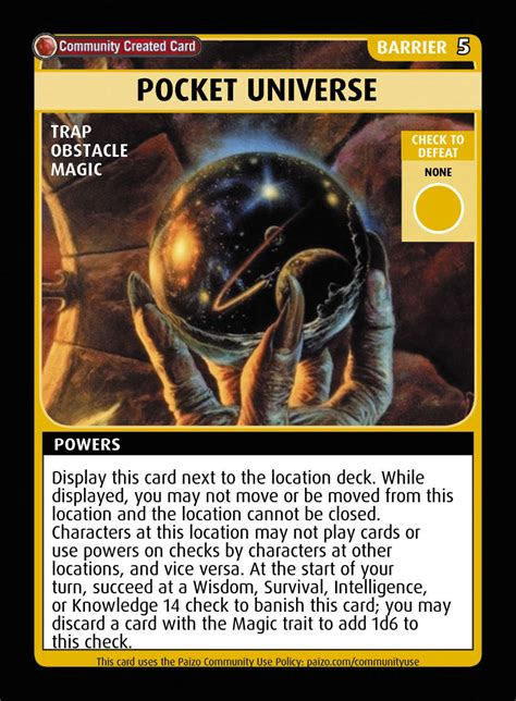 pocket universe custom card paizo pathfinder