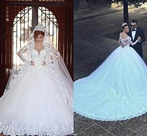 2016 vetidos arabia v neck ball gown wedding dresses 2015 With plus size wedding dresses with long trains