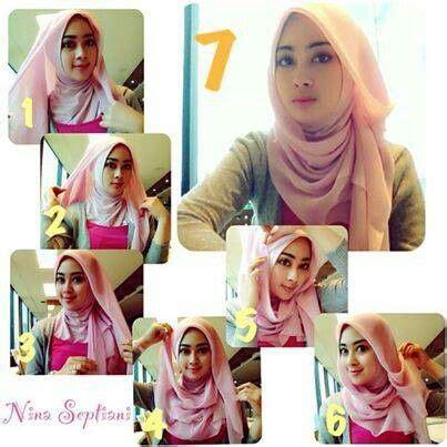 memakai jilbab segi empat cantik hijab