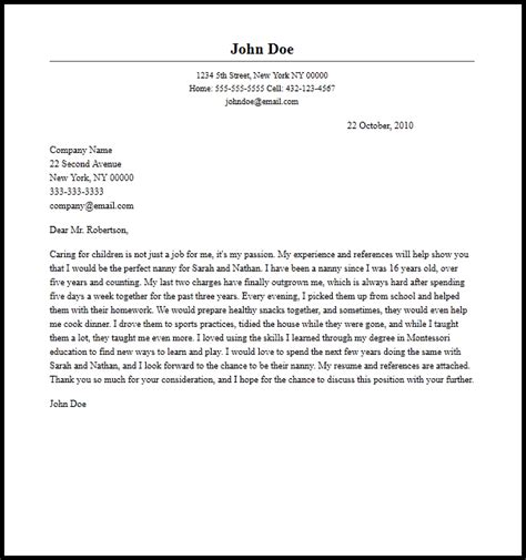 Cover Letter For Nanny by Professional Nanny Cover Letter Sle Writing Guide