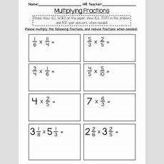 5th Grade Multiplying Fraction Quiz By Hall Classroom Tpt