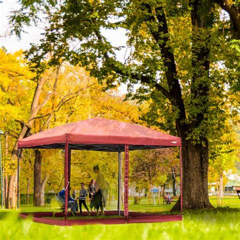 outdoor ez pop  canopy screen party tent  mesh side walls    ft red walmartcom