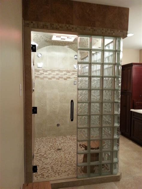 Glass Block Steam Shower  Contemporary Bathroom