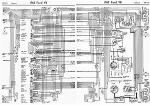 Ford V8 Galaxie 1963 Complete Electrical Wiring Diagram