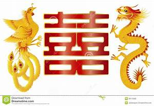 Dragon And Phoenix With Chinese Double Happiness Stock ...