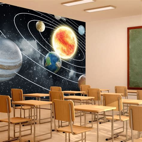 space wall mural planets solar system wallpaper kids