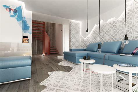 wohnzimmer beleuchtung blue brown white modern living room l olpos design