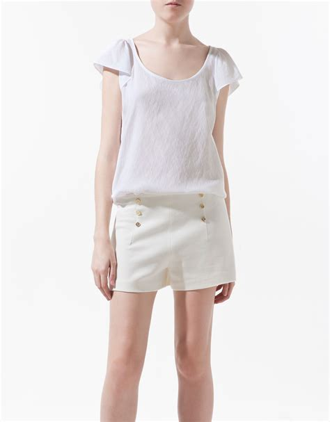 zara white blouse zara blouse with frilled sleeve in white lyst