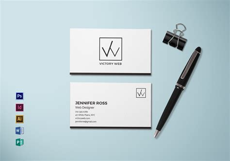 simple minimal business card template  psd word
