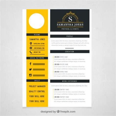plantilla de curriculum amarilla descargar vectores gratis
