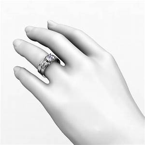 Channel set diamond engagement ring matching wedding for Wedding ring engagement ring set