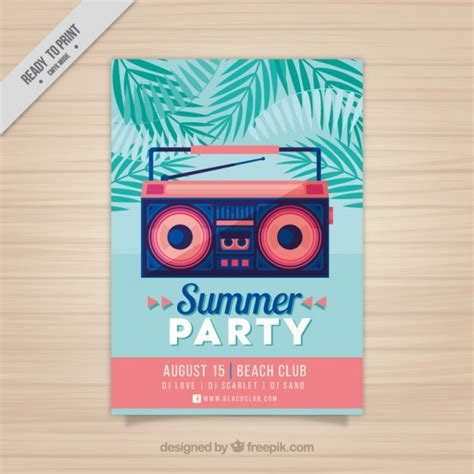 modern summer flyer with a radio cassette vector free