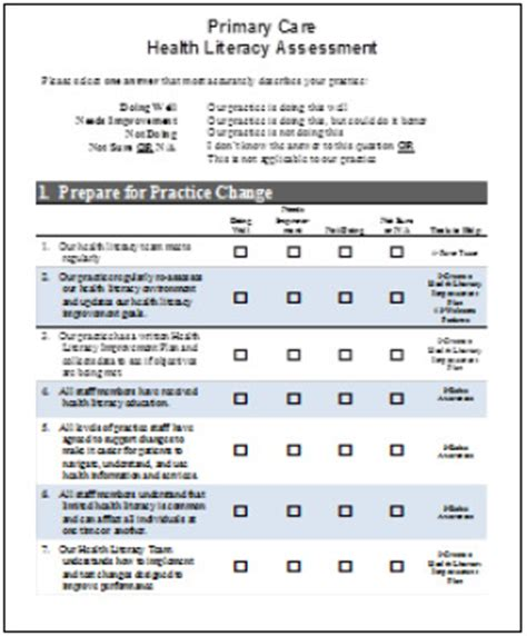 Comprehensive Health Assessment Program Template by Create A Health Literacy Improvement Plan Tool 2