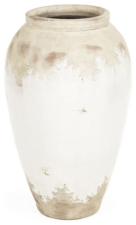 siena white rustic distressed white ceramic floor vase