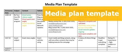 downloadable media plan template  step   pr