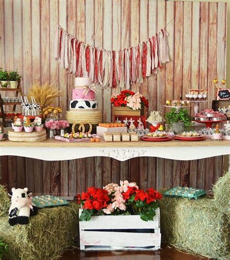 dessert table   girly farm birthday party  karas