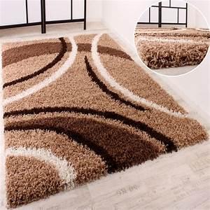 Langflor Teppich Saugen : shaggy braun beige gemustert hochflor teppiche ~ Markanthonyermac.com Haus und Dekorationen