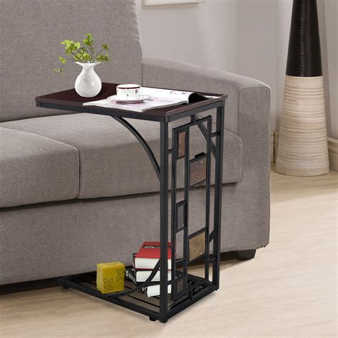 sofa bed side  coffee table modern magazine snack wooden desk laptop metal
