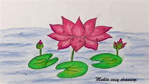 How to draw Waterlily.Step by step (Very easy) - YouTube